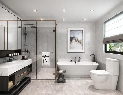 新中式卫生间, 马桶, 淋浴房, 挂画