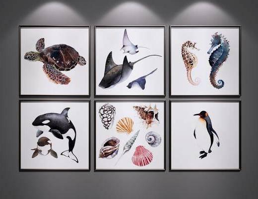挂画, 儿童房装饰画, 鱼装饰画挂画, 水生动物装饰画