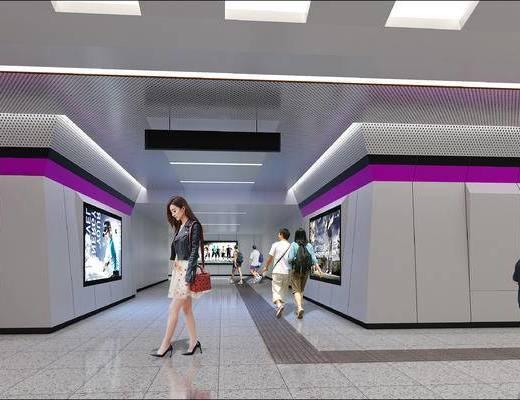 地铁站, 通道, 车站, 地铁