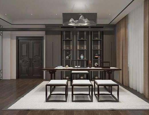 茶室, 餐桌, 餐椅, 茶桌, 单人椅, 装饰柜, 摆件, 装饰品, 陈设品, 吊灯, 凳子, 新中式