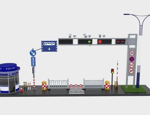 交通設施, 崗亭路燈, 柵欄路牌, 現代