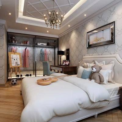 儿童房, 卧室, 简欧, 床, 吊灯, 床头柜, 台灯, 衣柜, 衣服