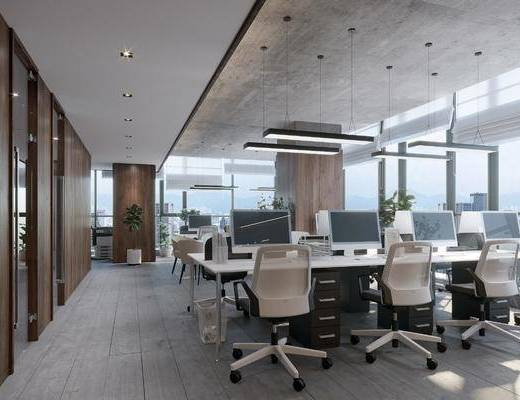 办公区, 现代办公区, 桌椅组合, 单椅, 桌子, 摆件, 圆桌, 植物, 盆栽, 吊灯, 现代