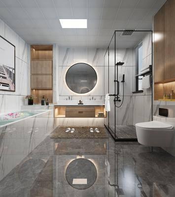 衛生間, 浴室, 馬桶, 洗手臺, 花灑, 現代