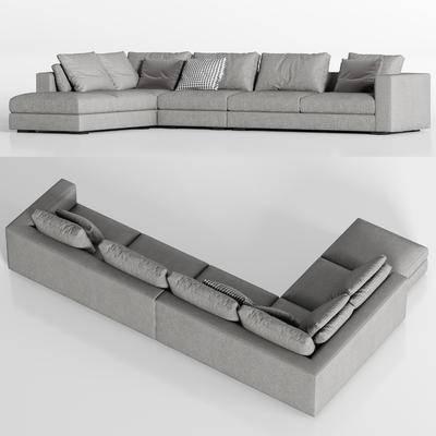 现代灰色布艺转角多人沙发枕头组合