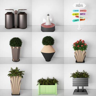 垃圾桶, 花坛, 花架, 花槽, 花箱, 指示牌, 展示柜