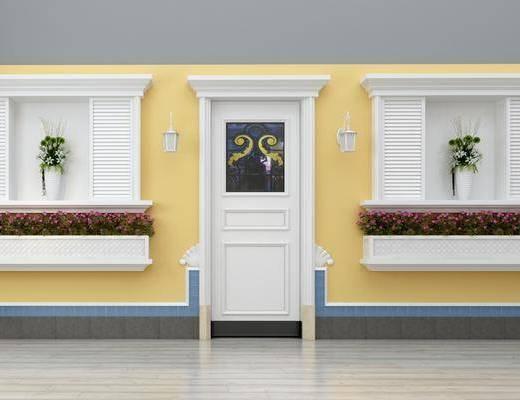 门, 窗户, 壁灯, 盆栽, 绿植, 花卉, 简欧, 双十一