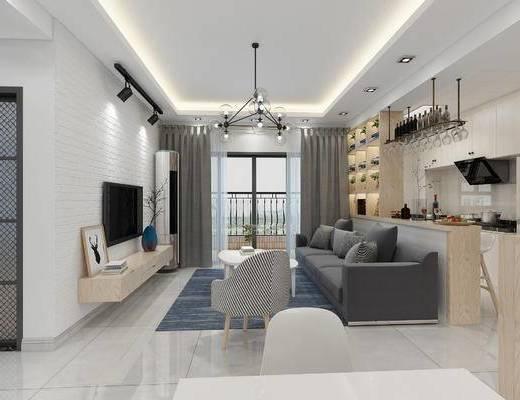 现代简约, 现代客厅, 客厅, 现代沙发, 沙发组合, 电视柜