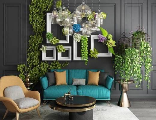 盆栽, 装饰相框, 沙发组合, 吊灯, 鸟笼, 花盆组合