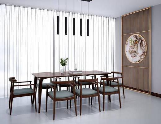 桌椅组合, 餐桌, 单椅, 椅子, 吊灯, 隔断, 植物, 盆栽, 新中式