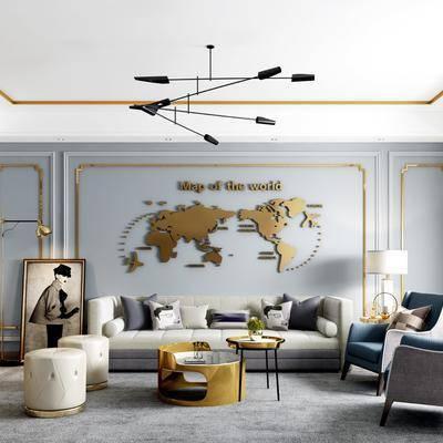 后现代客厅, 后现代, 客厅, 布艺沙发, 椅子, 凳子, 茶几, 墙饰, 装饰画