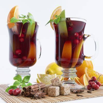 水果, 饮料, 玻璃杯, 器皿, 橙子, 水果茶, 现代