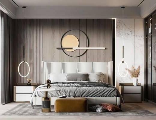双人床, 墙饰, 吊灯, 床头柜, 衣柜
