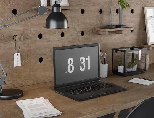北欧办公桌, 电脑, 台灯