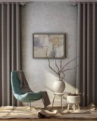 中式, 单椅, 圆几, 挂画, 花瓶