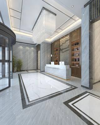 新中式大堂, 大堂, 大厅, 前台, 接待