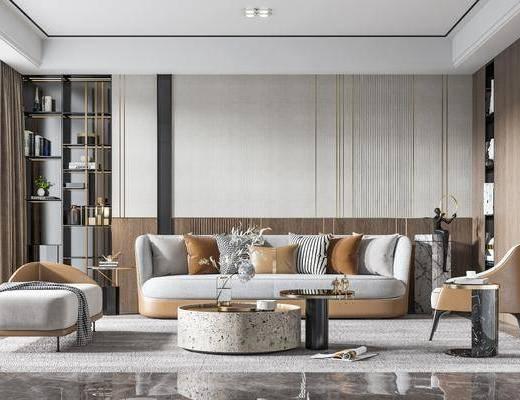 沙发组合, 抱枕, 茶几, 摆件组合, 花瓶, 单椅, 落地灯