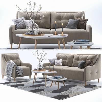 沙发, 茶几, 圆几, 地毯, 蜡烛台, 花卉, 花瓶, 现代?#23478;?#21333;人多人沙发茶几圆几地毯蜡烛台花卉花瓶组合