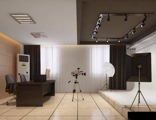 现代录影棚, 办公桌, 摄像机