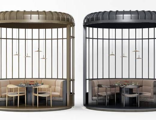 圆形卡座, 桌子, 单人椅, 吊灯, 现代, 桌子组合