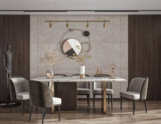 餐桌椅, 方形餐桌, 墙饰, 雕塑, 摆件