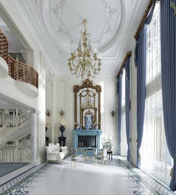 法式, 法式客厅, 法式别墅, 欧式吊灯, 壁炉