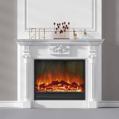 雕花壁炉, 摆件组合, 欧式