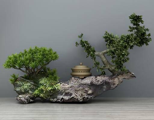 假山石头, 松树盆栽, 摆件组合, 园林小品, 园艺小品, 景观园林, 石头摆件, 新中式