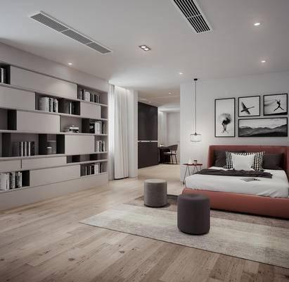 北欧, 卧室, 双人床, 卫生间, 沙发
