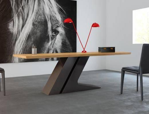 书桌, 单人椅, 台灯, 装饰画, 挂画, 工业风
