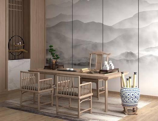 新中式, 桌椅组合, 桌子, 椅子