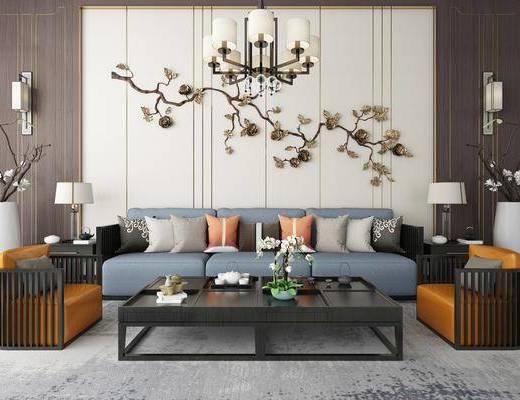 沙发组合, 多人沙发, 茶几, 单人沙发, 边几, 台灯, 吊灯, 墙饰, 摆件, 装饰品, 陈设品, 新中式