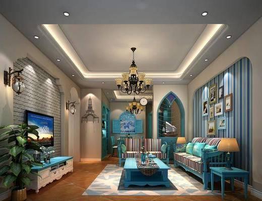 地中海, 客餐厅, 多人沙发, 茶几, 单人沙发, 边几, 台灯, 挂画, 吊灯, 盘栽, 餐桌椅, 墙饰, 壁灯