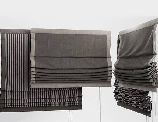 现代, 卷帘, 窗帘, 布艺窗帘