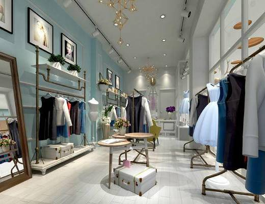 北欧, 服装店, 服装, 衣架, 挂画, 桌几, 镜子