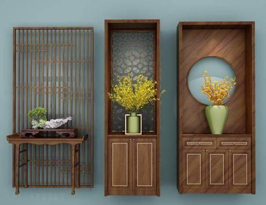 玄关柜, 装饰柜, 花瓶, 花卉, 新中式