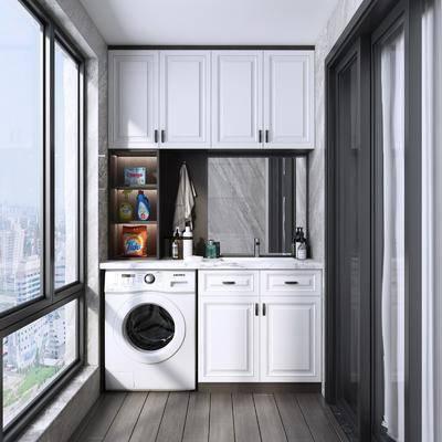 阳台, 现代阳台, 露台, 洗衣机