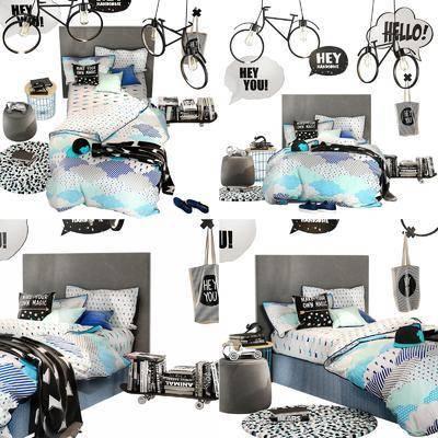 双人床, 现代, 吊灯, 地毯, 摆件, 书籍