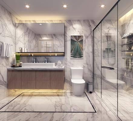 现代极简卫生间, 洗手台, 挂画, 绿植, 现代