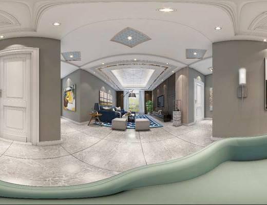 现代, 客厅, 餐厅, 全景模型, 餐桌椅, 沙发