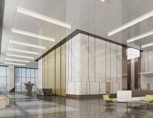 现代, 办公楼, 雕塑