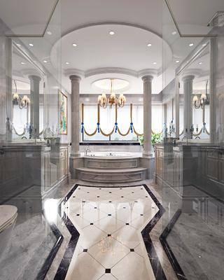 卫生间, 浴室, 吊灯, 洗手台, 装饰镜, 欧式