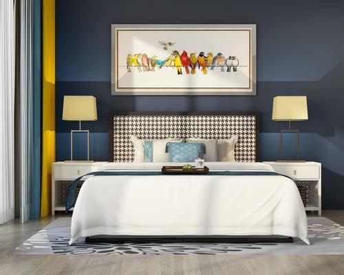 床, 床头柜, 中式卧室, 台灯, 装饰画, 床品