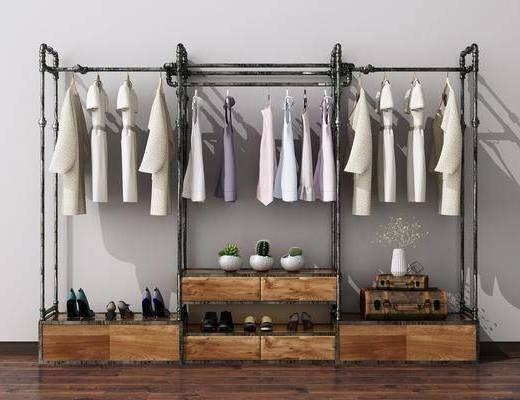 衣架, 衣服, 鞋子, 花瓶, 箱子