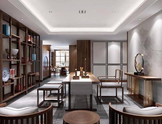 茶室, 餐桌, 餐椅, 茶桌, 单人椅, 边柜, 装饰柜, 摆件, 装饰品, 陈设品, 凳子, 新中式