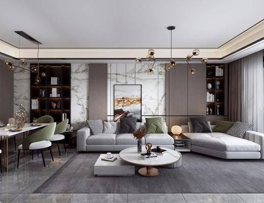 茶几, 餐桌, 吊灯, 沙发组合, 装饰画, 摆件组合