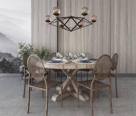 吊灯组合, 餐桌, 桌椅组合, 餐具组合, 植物