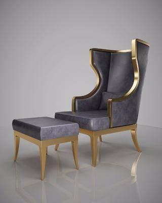 单人沙发, 凳子, 美式