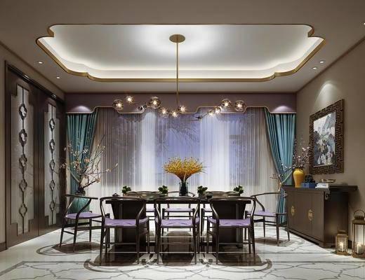 餐桌, 桌椅组合, 吊灯, 窗帘, 边柜, 摆件组合