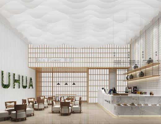 奶茶店, 前台接待, 桌椅组合, 摆件组合, 现代